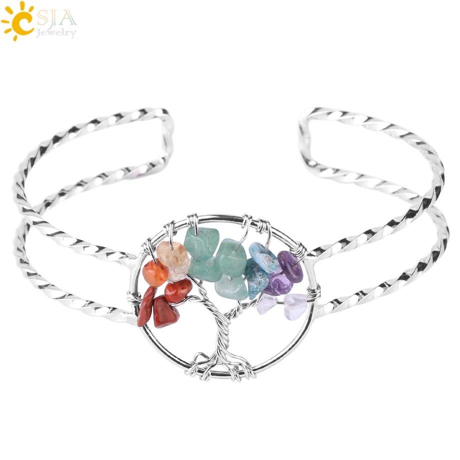 CSJA New Chakra Natural Gravel Tree of Life Silver Color Open Bangle Copper Adjustable Bangle for Women Cuff Wrist Bracelet F503