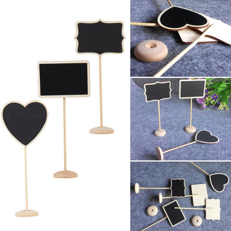 5pcs Wooden Mini Blackboard Chalkboard with Stand Place Wedding Table Number Sign Sale J2Y