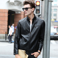 Free Shipping ! Fashion 2016 Black Color Jacket Leather Men Slim High Quality Motorcycle Jacket Men Young Fashion Leather Jacket