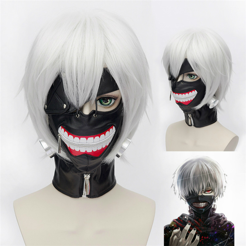 Anime Cosplay for Tokyo Ghoul Terror Half Face Mask Deadpool White Wigs Vestidos Costumes for Adult in Halloween Carnival Party