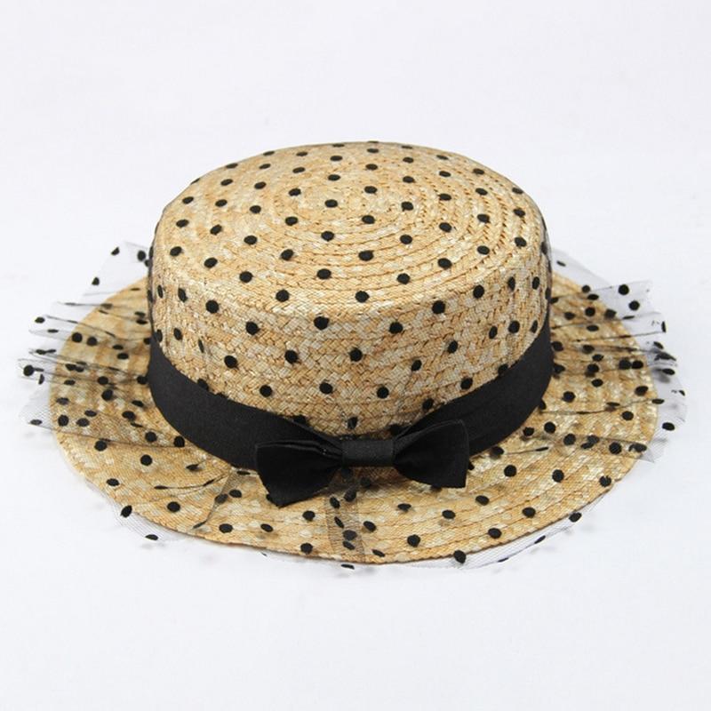 Spitze Dame Sonne Kappen Band Bogen Runde Flache Top Stroh Strand Hut Panama Hut Sommer Hüte Für Frauen Stroh Hüte Snapback Gorras Kopfbedeckungen Für Damen