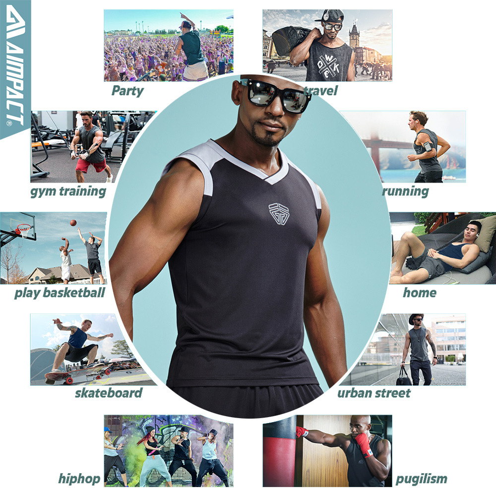 Aimpact 2PcsLot 2018 New Tank Tops For Men Fast Dry Sexy Sleeveless tshirts Male Gymi Workout Male Brand Clothing Men 2AM1025