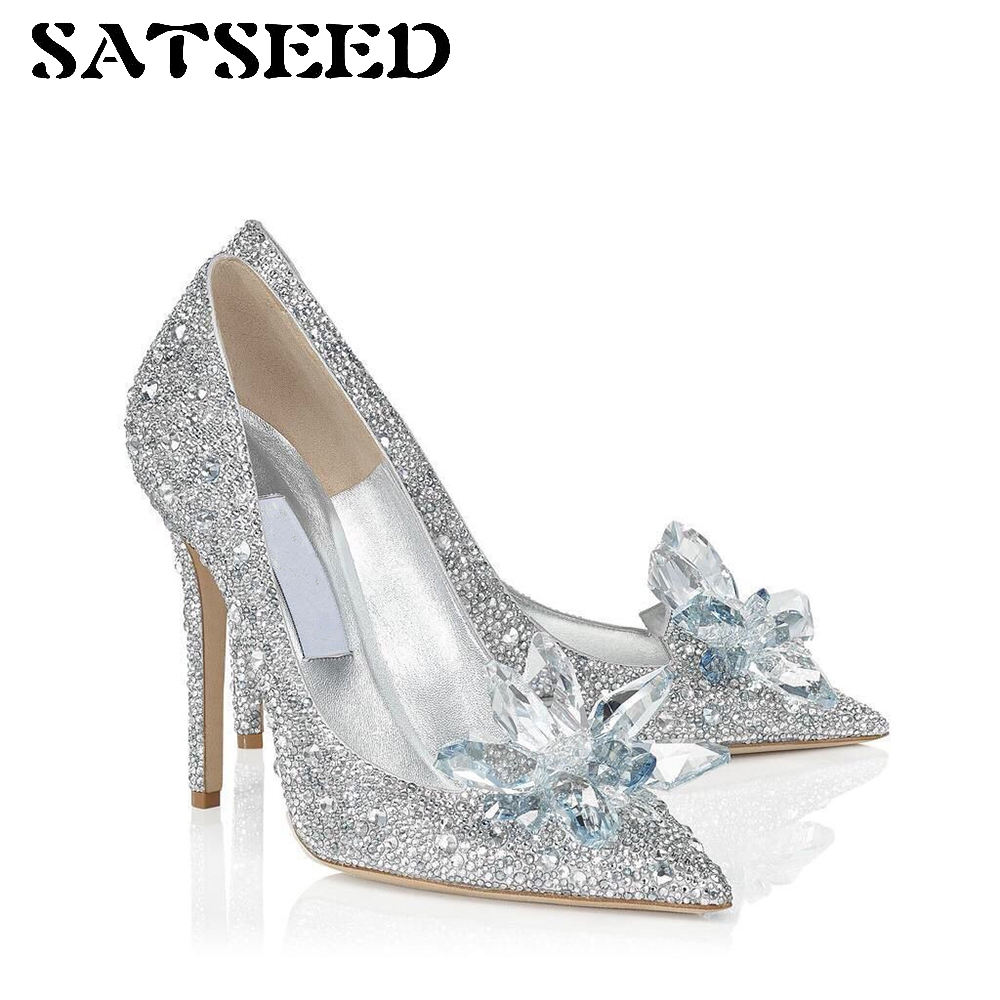 Spring Pumps 2018 Pointed Toe Superstar Pumps Crystal High Heels Pumps Sexy Female Wedding Shoes Dress Women Shoes Fashion New sexy pointed toe high heels women pumps shoes new spring brand design ladies wedding shoes summer dress pumps size 35 42 302 1pa