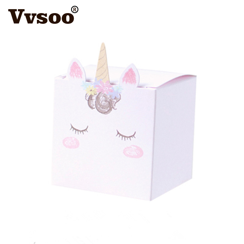 Vvsoo 5pcs Unicorn Candy Bag Party Cartoon Paper Bags for Gifts Wedding Decor Baby Shower Birthday Gift Bags Wrapping Supplies