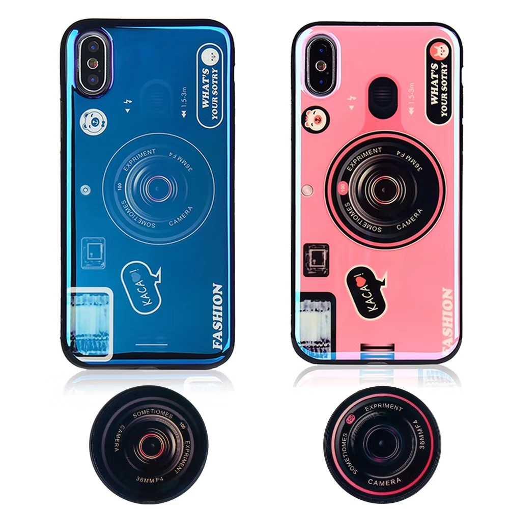 실리콘 커버 for iPhone11 Pro MAX X XR XS MAX 3D 레트로 카메라 블루 레이 스트랩 폰 케이스 for iPhone 6 6Plus 7 7Plus 8 8Plus capa