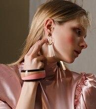Euramerican temperament individual character ring tassel earrings simple joker cool wind earrings pop drop earrings
