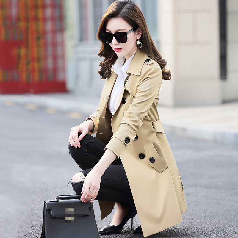 Autumn Self-Cultivation Women Small Windbreaker Plus Size S-6XL Loose Mid-Long Femme Solid Color Casual Trench Coat Tide MZ2888