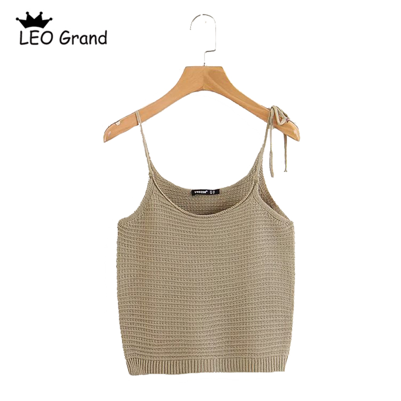 Leo Grand women solid color fashion crop tops bow tie design spaghetti strap tank backless chic knitted camis tops 909011