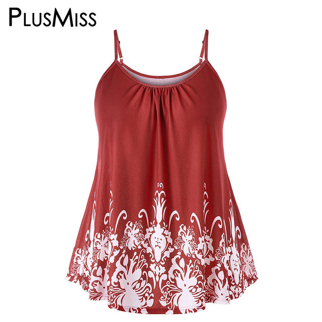 c7f51d2dcdea2 PlusMiss Plus Size 5XL 4XL Summer 2018 Baroque Print Cami Tops Women  Clothing Big Size Sexy Camisole Female Loose Vests Ladies
