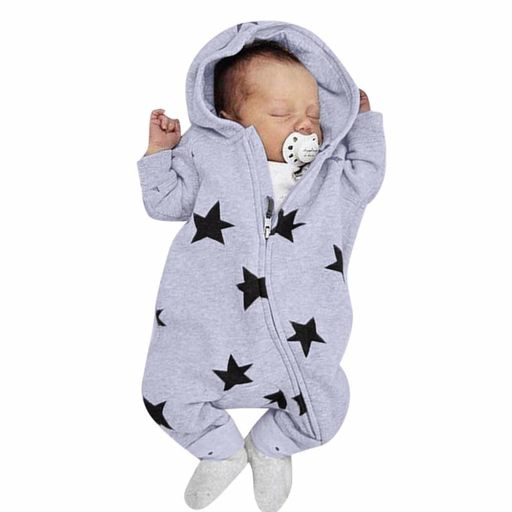 יילוד תינוקות בייבי בנות בני כוכבים הדפסת ברדס רוכסן Romper סרבל תלבושות אביב חדש לגמרי אופנה יילוד סרבלי