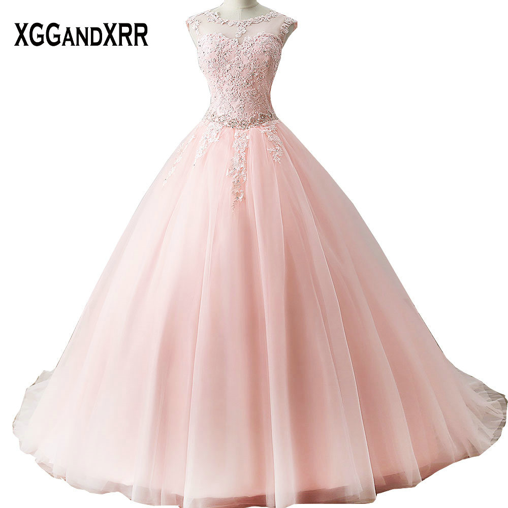 Long Quinceanera Dresses 2018 Puffy Ball Gown Sweetheart Cap Sleeve ...