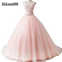 New Arrival Pink Tulle A Line Quinceanera Dresses 2018 Scoop Appliques Beaded Hollow Back Sweep Train Sweet Dresses For 15 16