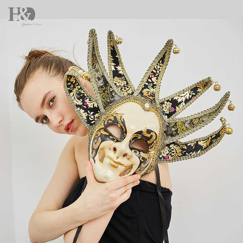 H & D ręcznie malowane wenecki styl jakości Masquerade Jester Clown Party czapka kominiarka karnawałowy kostium Fanshaped maska Mardi Gras