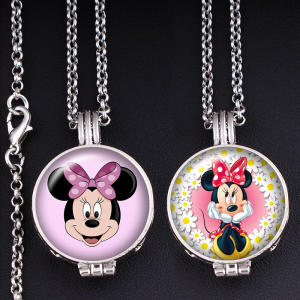 Glass Necklace Aromatherapy-Diffuser Mouse-Perfume Aroma Locket Cartoon Fragrance XS674