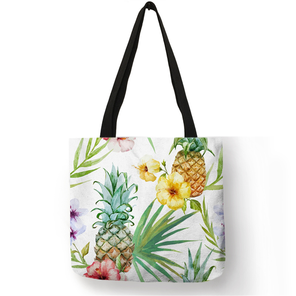 2018 Hot Fashion Tropical Plant Tote Bags Women Fashion Handbags Pineapple Floral Cactus Print Shopping  Traveling School Bags