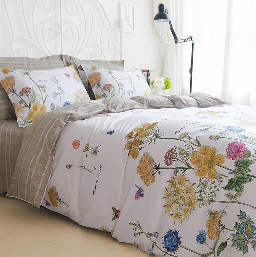 Colorful flower bedding - Pastoral Colorful Flower Bed Set Cotton Full Queen King European American Floral Bedclothes Bed