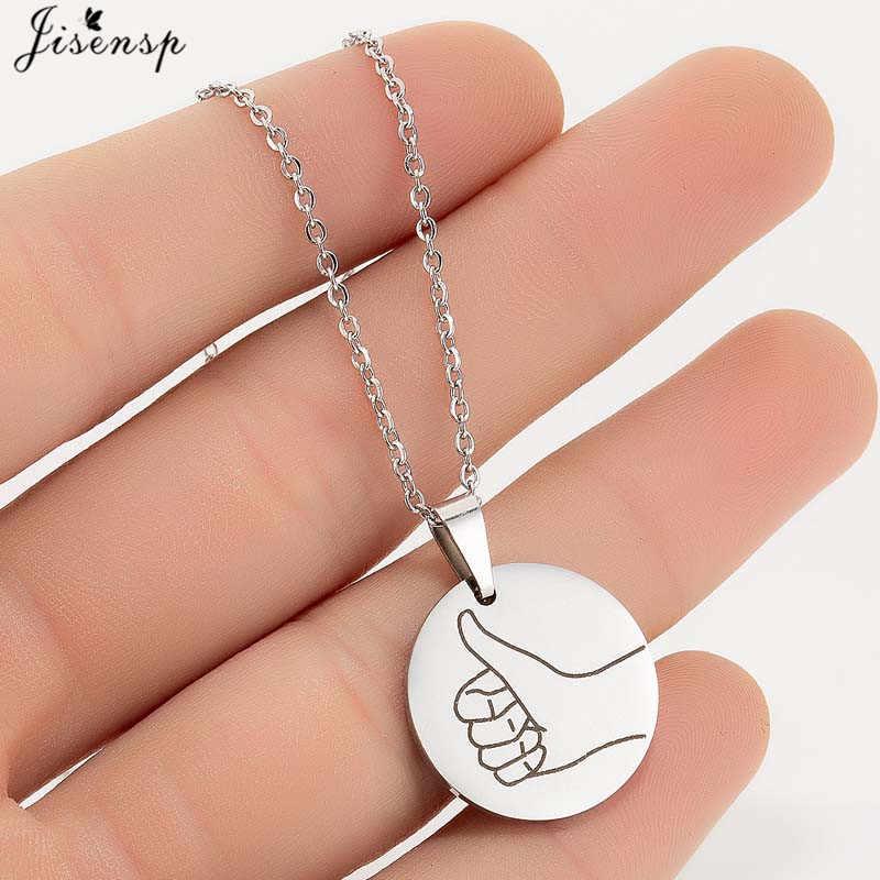 Jisensp srebrny ze stali nierdzewnej okrągły wisiorek naszyjnik dla kobiet mężczyzn biżuteria codzienna gestów naszyjniki najlepszy przyjaciel prezent