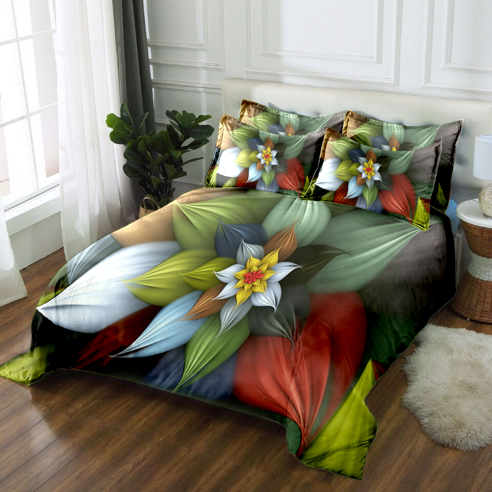 custom size 3d bedding sets king size bedsheet duvet bed cover pillowcase flat sheet twin king queen bed linen flower pattern