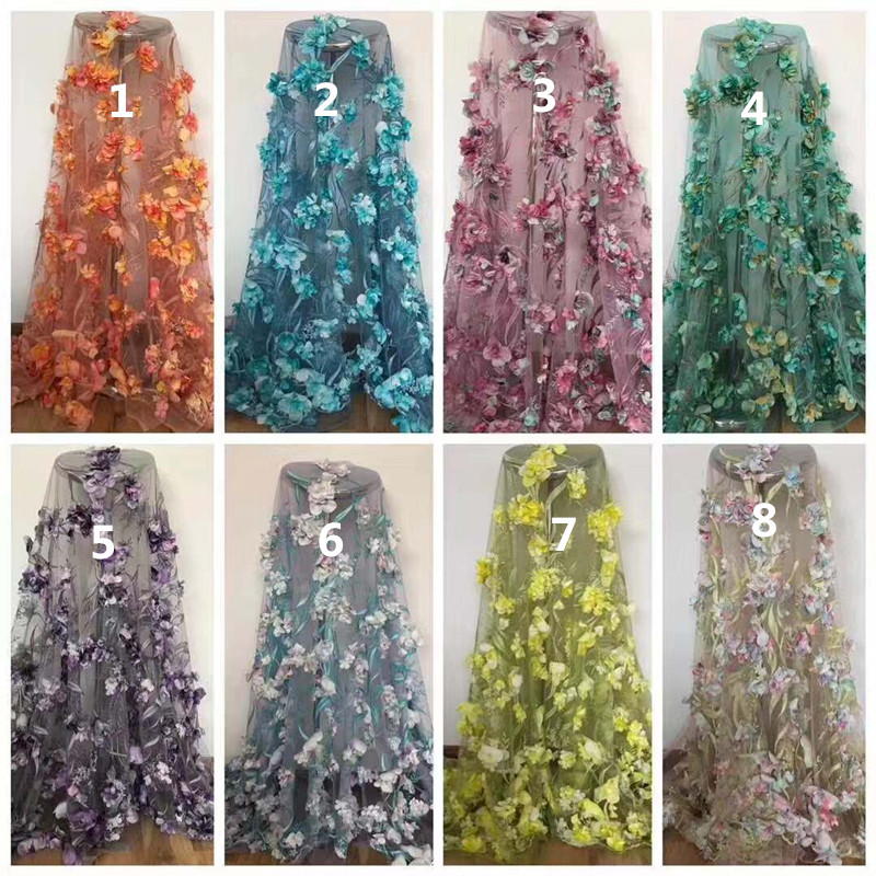 New Design 3d flower African Net Lace Fabric Mesh Tulle Lace CiCi 019 1 Nigerian French