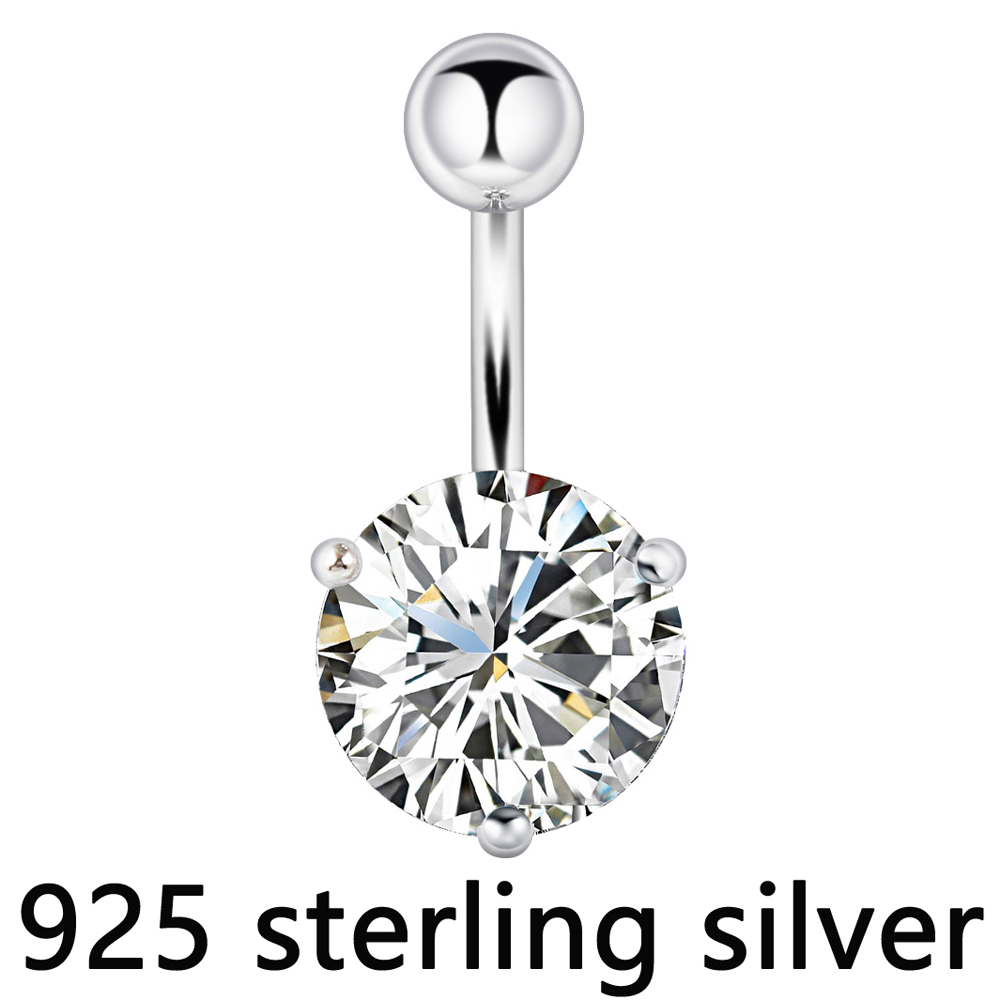 цена на Belly button ring real 925 sterling silver prong 10mm zircon stone clear body jewelry free shipping navel ring piercing jewelry