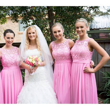 2016 New arrival Long Chiffon Lace Bridesmaid Dress Coral Colored  Bridesmaid Dresses pink lace wedding party d765cedf8853