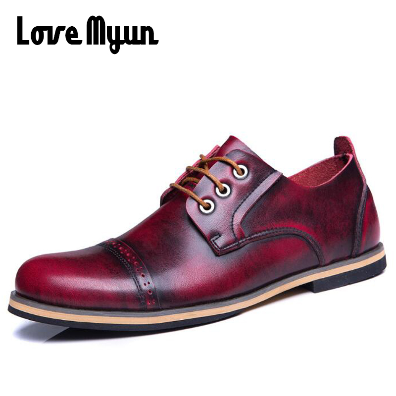 Big size 46 47 fashion mens Genuine cow leather shoes casual Breathable retro martin motorcycle shoes lace up ankle shoes AE-12 buvazik 2017 big size 46 47 casual shoes men cow leather high quality fashion lace up flats male genuine leather comfortable