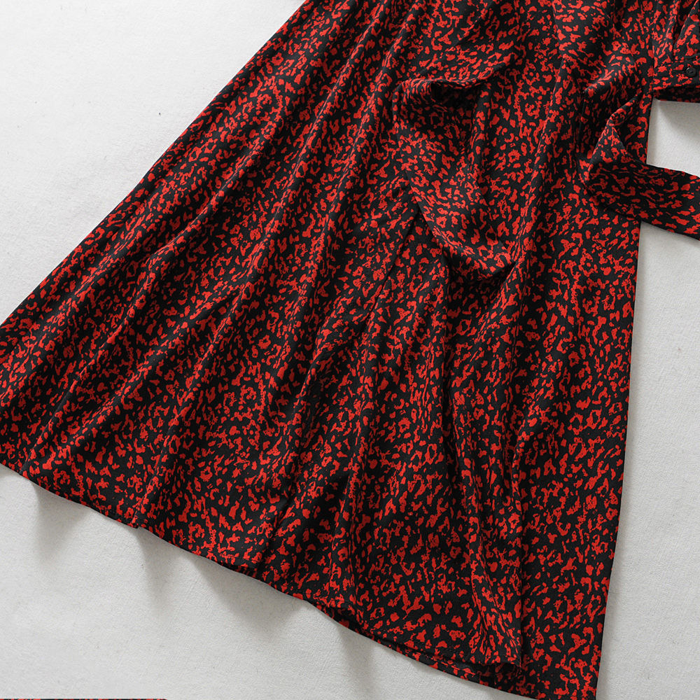 Vintage CUERLY Print Ankle Length Dress Bow Tie Sashes Long Sleeve Animal Pattern Chic Robe Maxi Dress Casual CUERLY Mujer in Dresses from Women 39 s Clothing