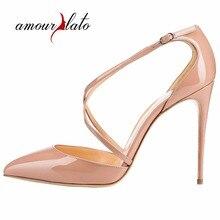 2cc8524d522dc Amourplato Women s Pointed Toe Cross Straps Pumps High Heel Crisscross  Strap Party Wedding Dress Shoes(