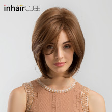 INHAIR CUBE Women Synthetic Wigs Side Parted Heat Resistant Mixed Color Straight Hair Wig Blonde Medium Length Elastic Wig Cap цена в Москве и Питере