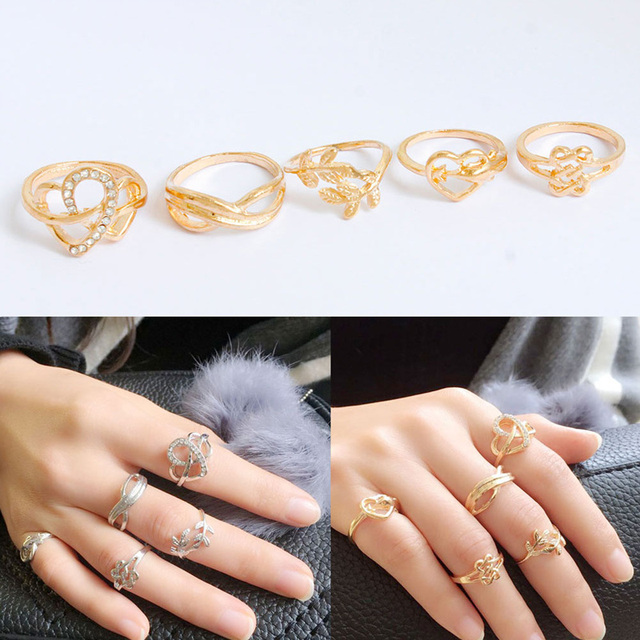 F&U Trendy Fashion Punk Joint Rings for Girls Gold and Silver