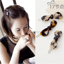 Korean Acrylic Leopard Print Small Bow Hairpin fringe Side-knotted Clip Hair Accessory For Women
