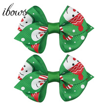 2 Pcs 2.5 Mini Christmas Hair Clips Snowman Gifts Printed HairBow Boutique Handmade Bow For Christmas Party Hair Accessories smkj e1hq christmas colored hair ball decorative snowman ornaments 10 pcs