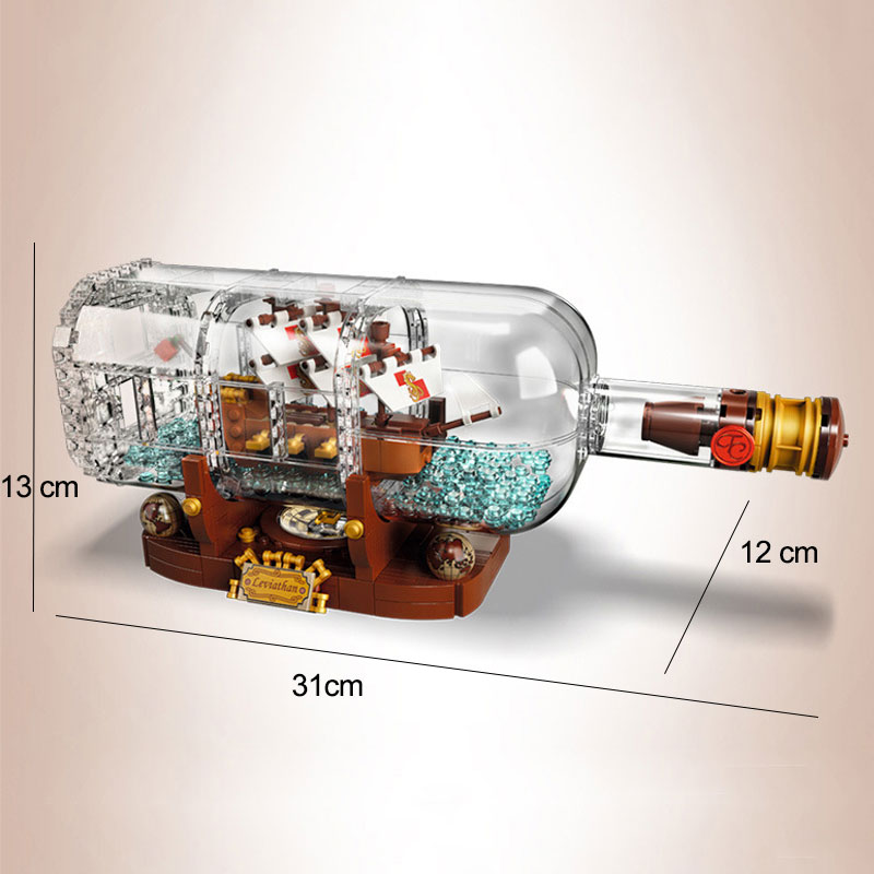 Image 2 - 1078Pcs Light Technic Idea Ship Boat In A Bottle Compatible legoinglys 21313 playmobil Building Blocks Bricks Toys for Children-in Blocks from Toys & Hobbies
