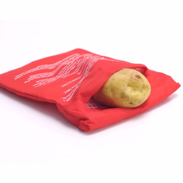 2pc New Red Oven Microwave Baked Potato Bag For Quick Fast Cook 4 Potatoes