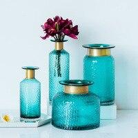 Europe Glass Tabletop Vase Nordic Blue Desktop Vases Wedding Vase for Flowers Garden Flowerpot Decoration Home Decor