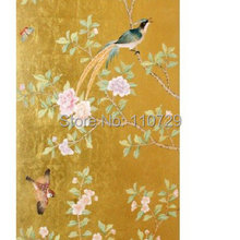 Ручная роспись Золотая фольга(яркое золото) Ручная роспись обои пион цветы с птицами много фотографий и фонов опционально