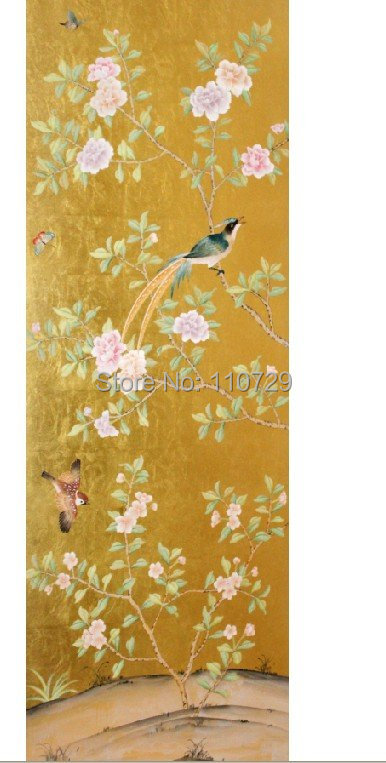 Hand-painted Gold Foil(bright gold) handpainted wallpaper painting Peony flowers with birds many pictures & backgrounds optional handpainted birds and leaf branch printed pillow case