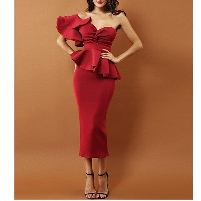 2019 Sexy soirée robe de soirée femmes bretelles moulante robe une épaule volants à manches courtes Club robe Vestidos