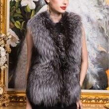 Осенне-зимний теплый жилет из меха серебристой лисы, женская верхняя одежда, модное меховое пальто плюс