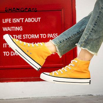Vulcanize Shoes Men High Top Canvas Shoes For Women Men Couple Breathable Lace Up Sneakers Yellow Flats tenis masculino adulto