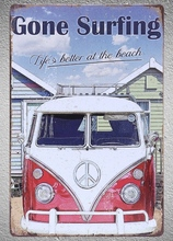 1 pc Gone surfing van summer beach seaside Tin Plate Sign wall plaques man cave Decoration Dropshipping Poster metal