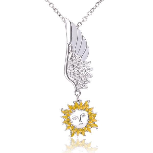 f718baea2 جديد أزياء Bijoux فام الفضة ا أجنحة الملاك مع إله الشمس قلادة Gargantilha  للنساء joyas سبائك بالتنقيط قلادة t1611
