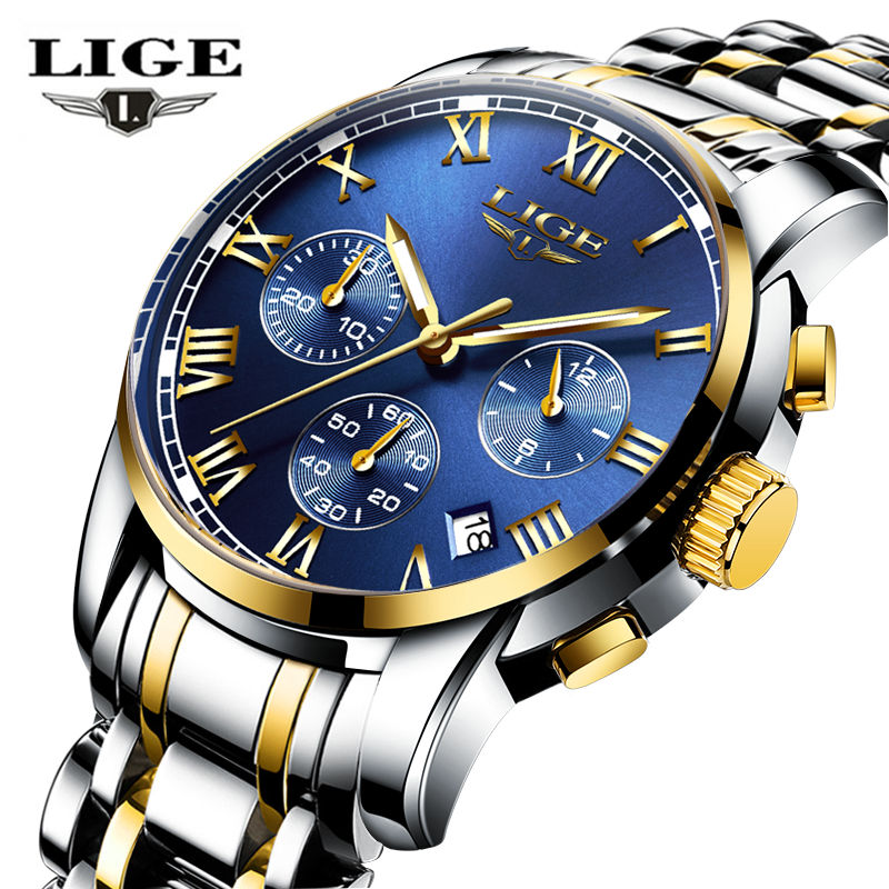 LIGE Watches Men Brand Chronograph Men Sports Watches Waterproof Full Steel Quartz Men's Watch Relogio Masculino+BOX+Spinner