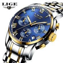 LIGE Watches Men Brand Chronograph Men Sports Watches Waterproof Full Steel Quartz Men's Watch Relogio Masculino+BOX+Spinner