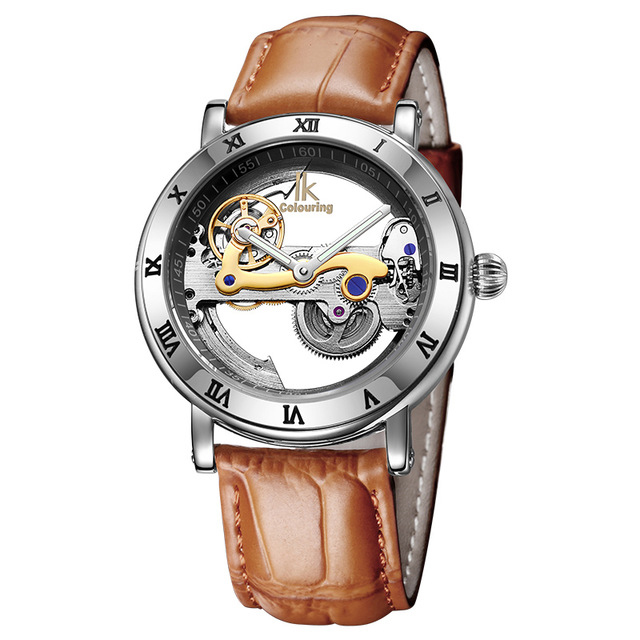 Automatic Mechanical Watches Men Brand Luxury Rose Gold Case Stainless Steel Skeleton Transparent Watch Men's watches 98399G-S forsining 2016 popular brand men watches simple automatic mechanical watch skeleton white dials gold case stainless steel band
