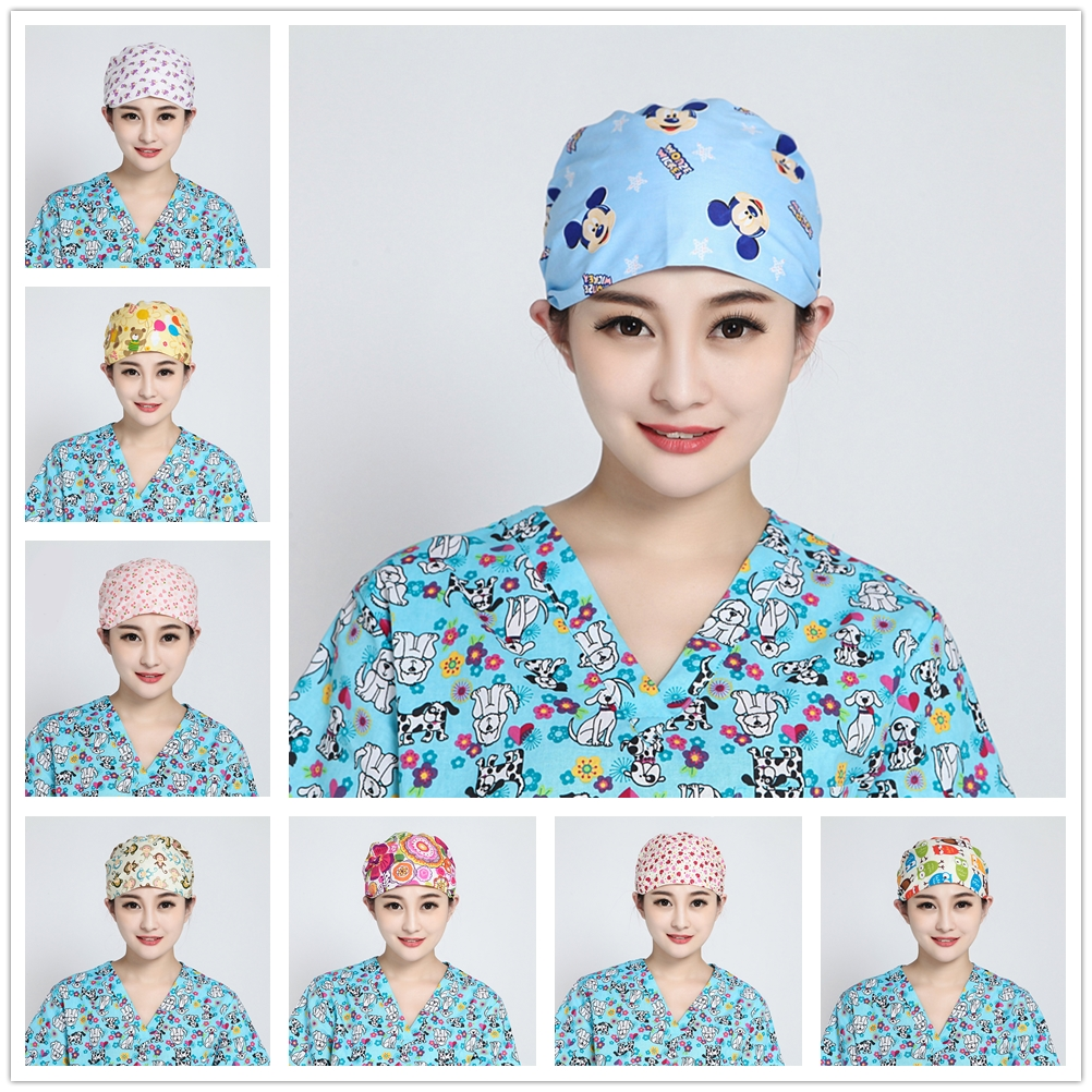 Pet Shop Surgical Scrub Cap For Women Adjustable Medical Caps Hospital Scrub Lab Clinic Dental Operation Hat Doctor Nurse Cap