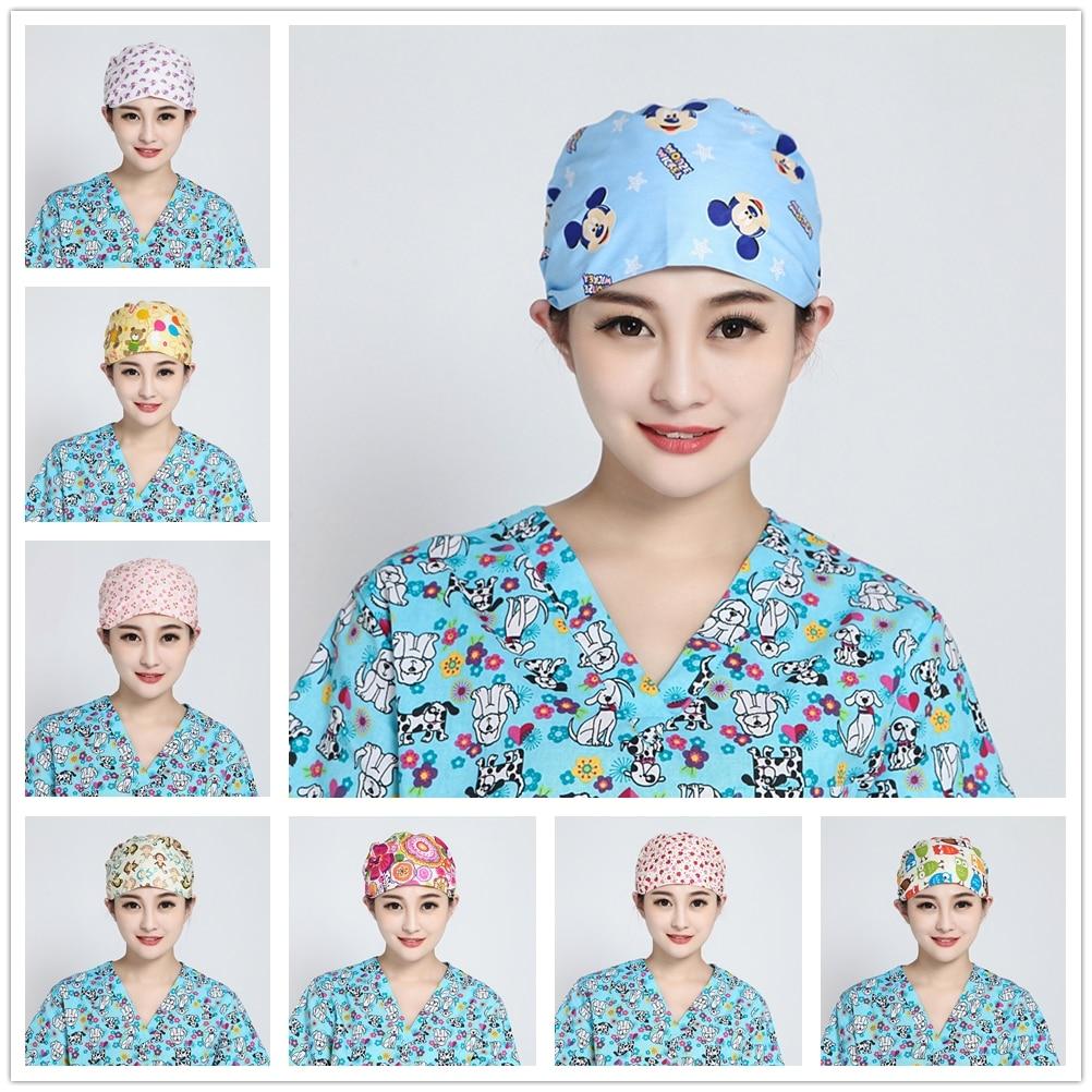 Pet Shop Surgical Scrub Cap For Women Adjustable Medical Caps Hospital Scrub Lab Clinic Dental Operation Hat Doctor Nurse Cap