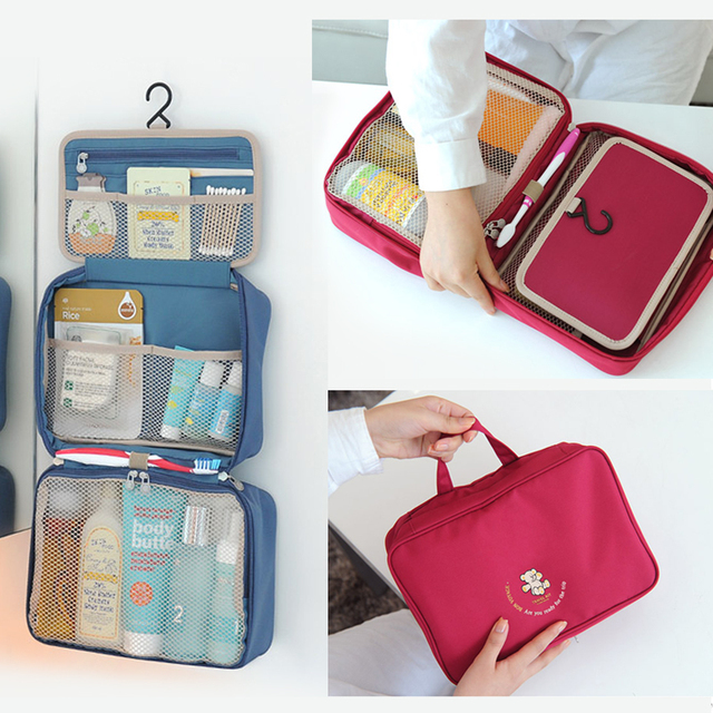 13a913df93 Toiletry Bag   Portable Travel Organizer   Household Storage Pack    Bathroom Makeup or Shaving Kit with Hanging