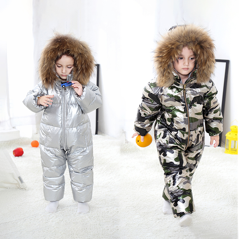 2019 hiver bébé filles vêtements fourrure à capuchon garçons barboteuses canard Dowm enfants combinaison une-pièces épais manches longues grenouillères