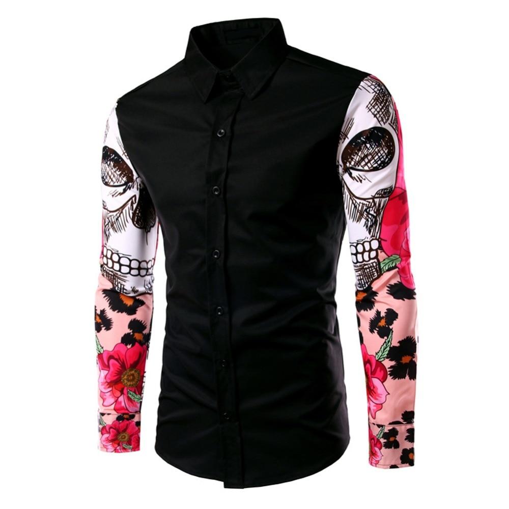 Shirt design new - Lisli Man Shirt Pattern Design Long Sleeve Flowers Print Slim Fit Casual Shirt Fashion Men Dress
